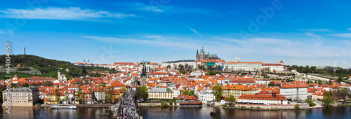 Panorama of Prague: Mala Strana,  Charles bridge and Prague cast