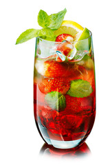 Red mojito with strawberry