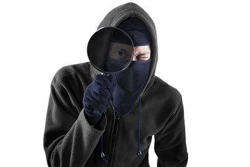 Thief with magnifying isolated