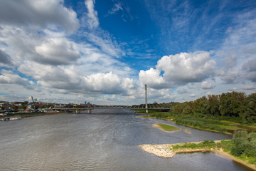 Modern bridge in Warsaw over Vistula river