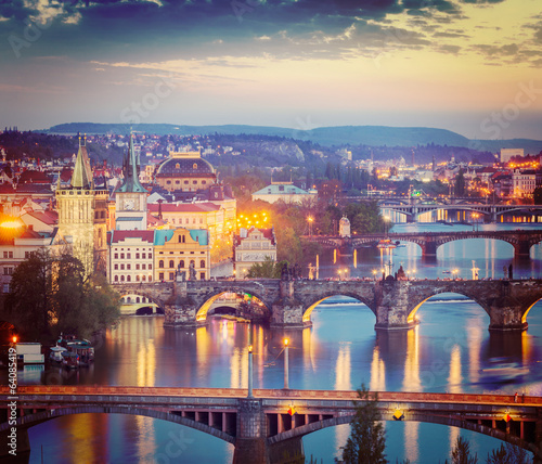 Panoramic view of Prague bridges over Vltava river from Letná P