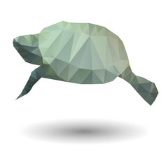 Abstract illustration of sea turtle in origami style
