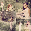 collage with beautiful bride outdoor