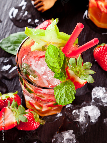 Fresh strawberry mojito drink