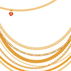 Golden chains on white background with heart  pendant.