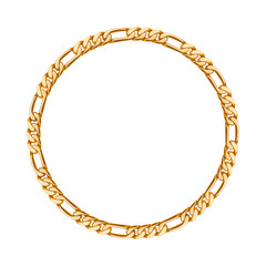 Thin golden chain - round frame.