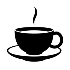 Simple coffee or tea cup icon. Black mug.