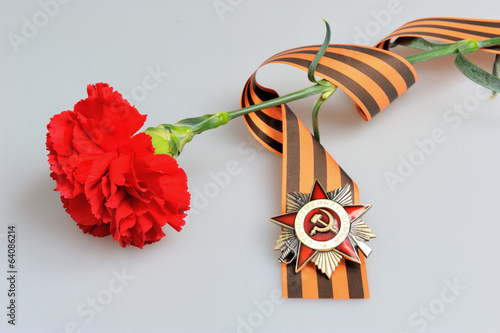 Red flower tied with Saint George ribbon and order of Great patr
