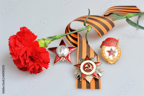 Red flower, Saint George ribbon and orders of Great war