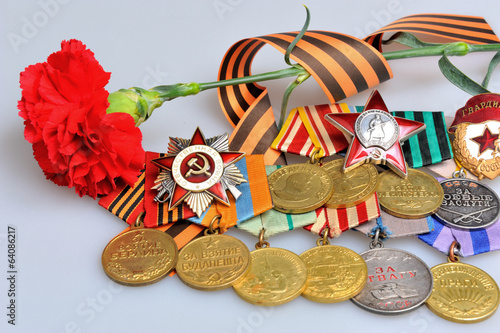 Red flower, Saint George ribbon, military awards