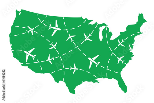 USA map with airplane routes