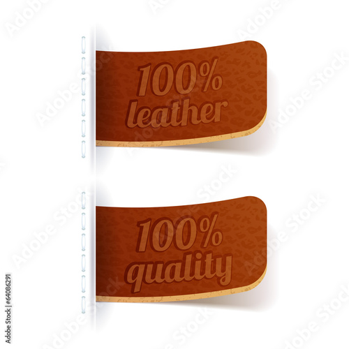 Leather tags. Brown embossed labels.