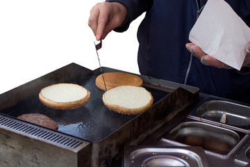 Hamburger on grill