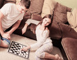 children with checkers at home