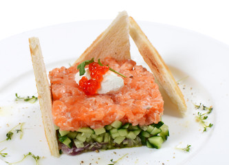 Tartar with salmon and cucumber
