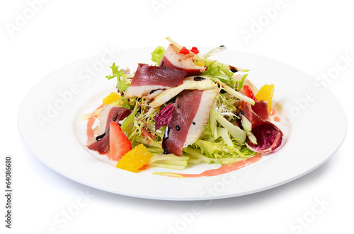 Salad with smoked duck breast