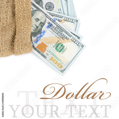 Dollar banknotes in a sack  isolated