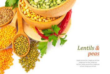 Lentil bean in wooden plate with spice, isolated on white,