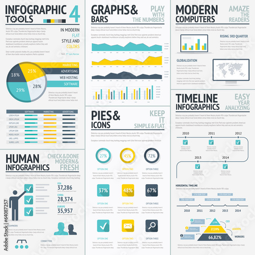 Big flat colored infographic elements vector set