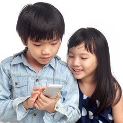 Kids playing on smartphone