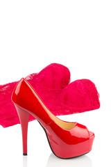 Rote Highheels und Unterwäsche