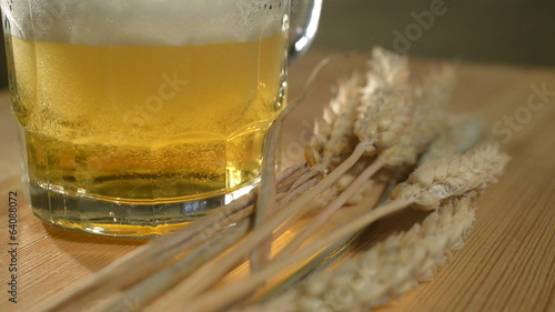 Wheat And Beer, Rotates  Glass,Bubbles And Foam In Glass