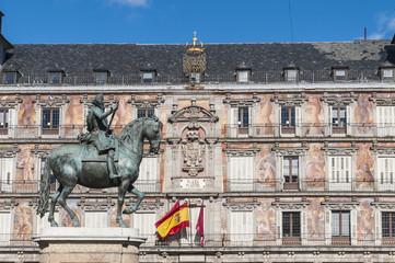 Philip III on the Plaza Mayor in Madrid, Spain.