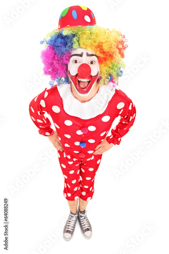 Funny male clown looking at camera