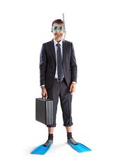Diving happy businessman