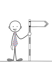 STICKMAN HOLDING BLANK SIGNPOST (marketing advertising pr)
