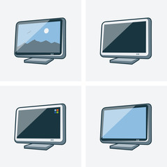 Set of four television icons