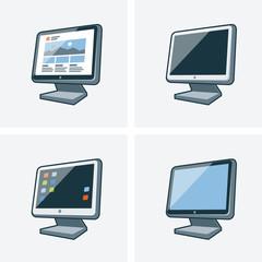 Set of four desktop pc monitor icons