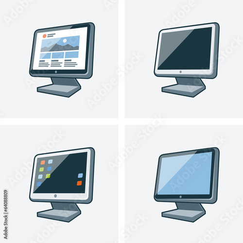 Set of four desktop pc monitor icons