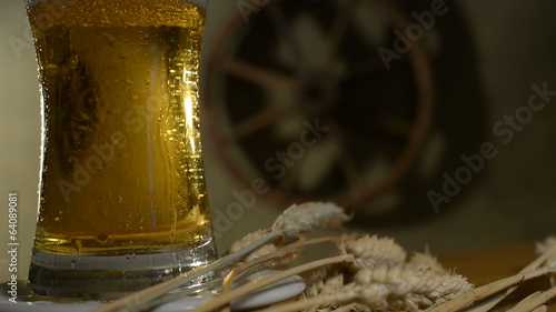 Wheat And Beer, Rotating  Glass, Flowing Drops