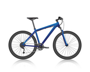 realistic mountain bike blue vector
