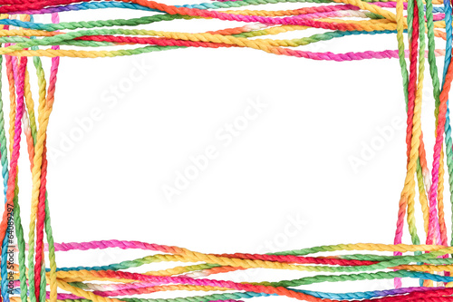 Colorful rope frame isolated on white background