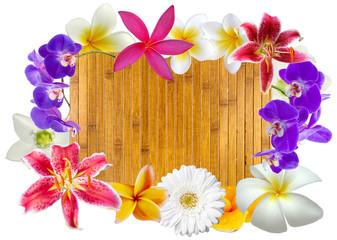 cadre bambou fleuri