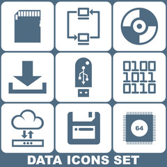 Digital Data Icons Set