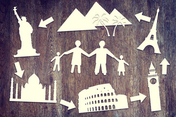 Paper scraps about family travel