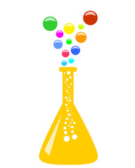 Abstract conical chemical flask with multicolor vapor