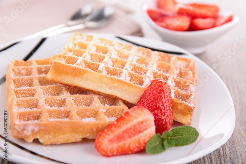 waffle and strawberry