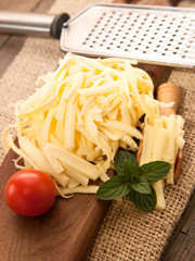 Grated yellow cheese