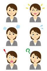 スーツの女性2 6つの表情