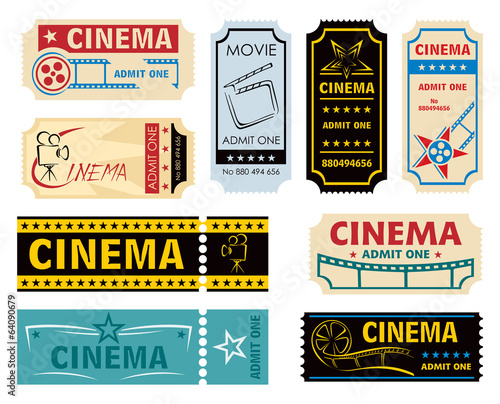 Collection off vintage and retro cinema tickets