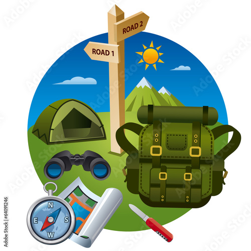 hiking icon concept
