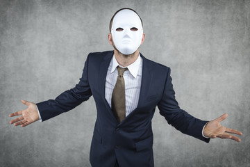 angry businessman wearing a mask