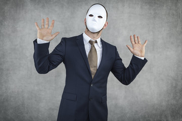 businessman wearing a mask