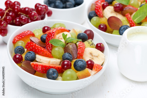 fruit and berry salad and jug of cream