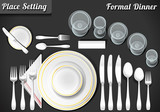 Set of Place Setting Formal Dinner Vector Placemat - 64091658