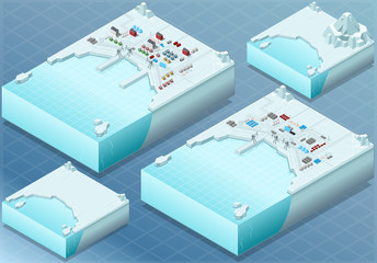 Isometric Arctic Bay with Town and Industrial District